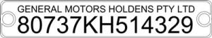 Holden VIN Plate